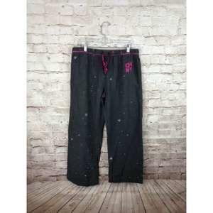 DKNY sleep pants sz L Grey hearts pink stars pjs